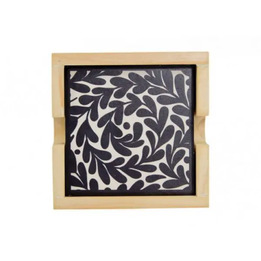 Annabel Trends Black and White Leaves Ceramic Coaster