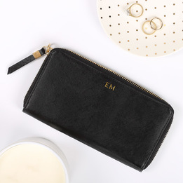 Womans Black Leather Wallet with Personalised Monogram