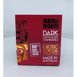 Maya & Monte Dark Chocolate Covered Cranberries 140g